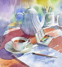 """Afutanu emissions tea"" watercolor / Fukui good Yu"