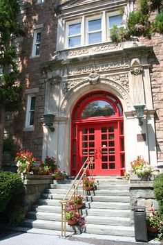 Entrance to a building at Muhlenberg College in Allentown, Pennsylvania.
