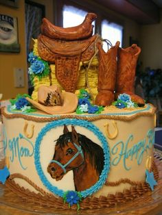 Cake for a Horse Loving Woman Más Cowgirl Cakes, Western Cakes, Cowgirl Party, Western Theme, Cupcakes, Cupcake Cookies, Horse Birthday, Cowboy Birthday, Birthday Cake Roses