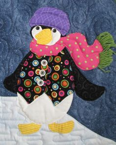 penguin+quilt   ... quilts wall hanging snow Quilt penguins childrens room Blue Animals