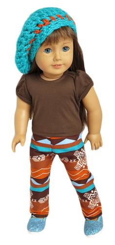 American Girl Doll Clothes by Silly Monkey - Brown Top, Southwest Tribal Pants, and Turquoise Slouch Hat, $20.99 (http://www.silly-monkey.com/products/brown-top-southwest-tribal-pants-and-turquoise-slouch-hat.html)