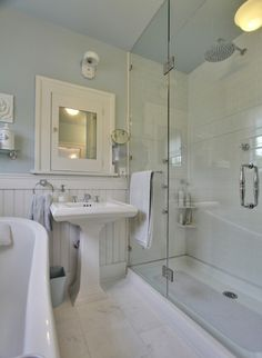 Craftsman Style Bath Remodel The Color Scheme Of All White And Gossimer Blue Walls Give