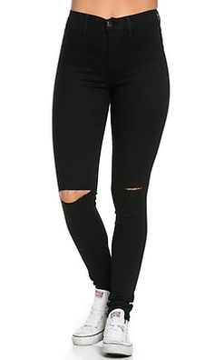 High Waisted Knee Slit Skinny Jeans in Black