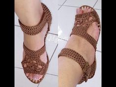 Crochet sandals and flat shoes with non-slip soles, from 33 to 40 with teacher Gi Crochet Sandals, Crochet Boots, Crochet Slippers, Crochet Yarn, Crochet Clothes, Crochet Lingerie, Crochet Bikini, Crochet Slipper Pattern, Crochet Patterns