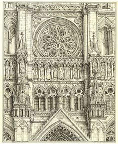cathedral details   ... + Text: Drawing Amiens Cathedral, detail above the portal, drawing