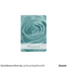 Floral Abstract Photo Aqua Rose Personalized Passport Holder