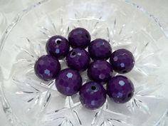 Purple Beads Acrylic 16mm Round Faceted Spacer by BeadsSoHeavenly
