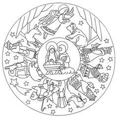 Fichas Infantiles: Mandalas para colorear de la navidad