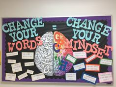 Personal Growth Bulletin Board. Change your words to change your mindset! Great visual element. via Nicole in Keller More