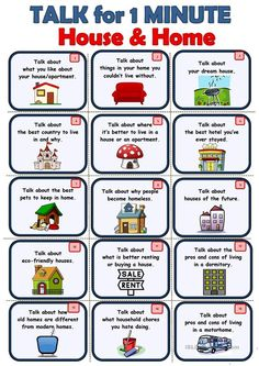 House&Home - Speaking cards - English ESL Worksheets for distance learning and physical classrooms Learning English For Kids, English Lessons For Kids, Learn English Words, Teaching English, Activities In English, English Speaking For Kids, Public Speaking Activities, Esl Learning, English Teaching Materials