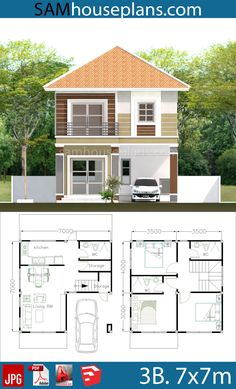 House Plans with 3 Bedrooms - Sam House Plans Modern Bungalow House, Cottage Style House Plans, My House Plans, House Layout Plans, Duplex House Plans, Craftsman House Plans, House Layouts, Cottage House, Two Story House Design