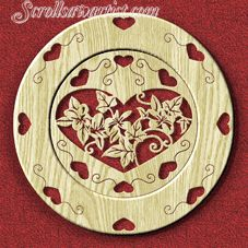 Scroll Saw Patterns :: Miscellaneous :: Decorative plates :: Decorative plate - Hearts -