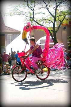 I don't think the kids would ride with me anymore if I had this bike! But I'd sure have a lot more fun. Flamingo Decor, Pink Flamingos, Bike Decorations, Bike Parade, Tropical, Flamboyant, Pink Bird, Canada Day, Bike Art