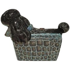 Judith Leiber Swarovski Crystal Poodle Box Minaudiere Evening Bag Wristlet   From a collection of rare vintage evening-bags-minaudieres at https://www.1stdibs.com/fashion/handbags-purses-bags/evening-bags-minaudieres/