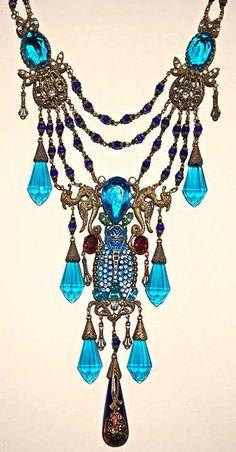 Blue Czech glass necklace