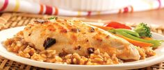 Sweet and sour seasoning for a creamy mushroom sauce gives this tasty chicken and rice casserole an exotic note. Can Chicken Recipes, Rice Recipes, Asian Recipes, Cooking Recipes, Chicken Ideas, Chicken Rice Bake, Canned Chicken, Golden Mushroom Soup, Campbells Recipes