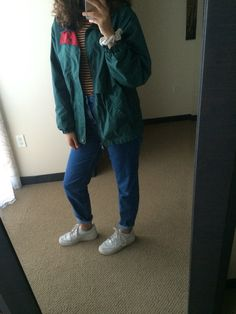 indie grunge 90s 1990s clothes vintage thrift store mom jeans jacket striped shirt nike Air Force 1s street style fall autumn summer winter spring Tommy Hilfiger London fog old school outfit
