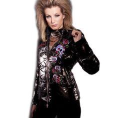 Ed Hardy Womens Skull Roses Puffer Jacket -Black