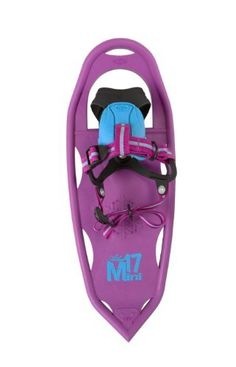 Atlas Girls Mini 17 Snowshoe by Atlas Snowshoes. $59.95. 230279 Features: Foot fatigue is reduced with the EVA foam tongue and the soft molded base of the Grom binding that provides warmth and smooths pressure points Take them on-off easily with the Grom binding that cradle the foot and eliminates confusing straps; steel rotating toe cord adds strength Give her the traction she needs with the tempered steel toe crampon and the Snowflake Traction to snowflake st...