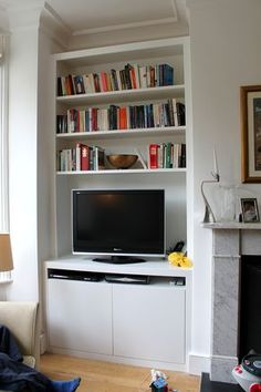 Bookcase tv stand combo residence designs bookcase stand medium size of bookshelf combo with billy entertainment Alcove Storage Living Room, Living Room Wall Units, Living Room Shelves, New Living Room, Living Room Interior, Living Room Designs, Interior Paint, Alcove Tv Unit, Alcove Bookshelves