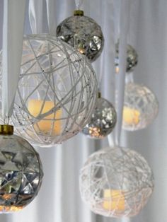 Put battery-operated candles in open ornaments and hang for an elegant holiday look!