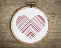 heart cross stitch pattern ++ striped triangle love ++ pdf INsTAnT DOwNLoAD ++ diy hipster ++ handmade design