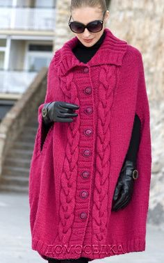 Capa tejida en punto de agujas   -   Knit cape fashion   -   Пальто-пончо