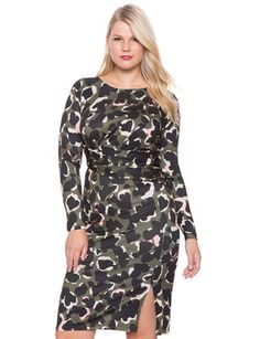 Draped Dress with Side Slit in faux camo for army chic Plus Size Fashion  For Women 503ca02add9f