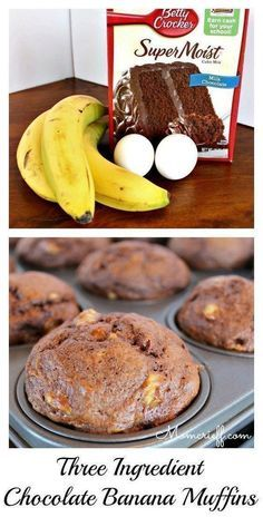 Banana chocolate muffins. Super easy to make with three ingredients normally in the house. Quick and easy recipe. Wonderful chocolate flavor! About 20 minutes total time! - 3 ingredients. - Momcrieff