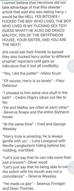 "This is great. Meanwhile... Harry: ""what the f*ck, where did all this sh*t come from. what the hell you guys?"""