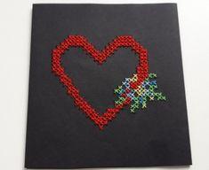 Kreuzstichkarte Herz mit Blüten Logos, Hand Crafts, Crosses, Heart, Logo
