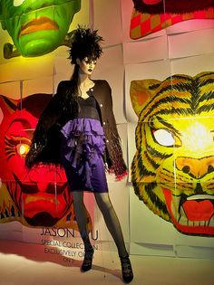 A Bergdorf Goodman window display announcing the exclusive Jason Wu special collection.