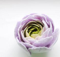 Lavender Cream  Apple Green Ranunculus Felt Flower Brooch via Etsy