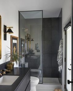 Eclectic Guest Bathroom with large Black Tile - Contemporary - Bathroom - Charleston - by Sea Island Builders LLC Modern Bathroom Design, Bathroom Interior Design, Home Interior, Modern Luxury Bathroom, Interior Plants, Bad Inspiration, Bathroom Inspiration, Interior Inspiration, Interior Ideas