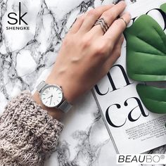 Shop & Buy SK Super Slim Sliver Mesh Stainless Steel Watches Women Top Luxury Casual Clock Ladies Wrist Watch Lady Relogio Feminino Online from Aalamey Women's Dress Watches, Women's Watches, Understanding Women, Elegant Watches, Face Design, Stainless Steel Watch, Casual, Feminine Fashion, Style Fashion