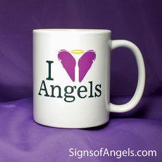 I Love Angels Coffee Mug. Start your day with the Angels.