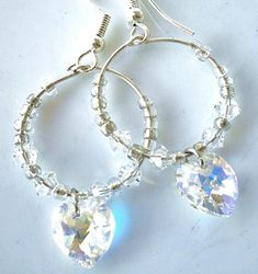 Items similar to Heart Earrings Clear Swarovski Crystals Hoop Earrings on Etsy – hoopearrings Perfect Gift For Mom, Gifts For Mom, Great Gifts, Handmade Bracelets, Handmade Jewelry, Handmade Gifts, Heart Earrings, Hoop Earrings, Mother Gifts