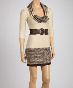 Take a look at this Brown & Heather Cowl Neck Sweater by Papillon Imports on #zulily today!
