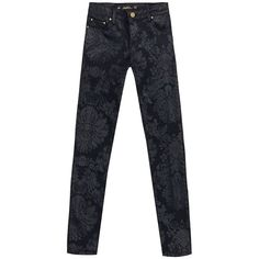 Zara Printed Jeans ❤ liked on Polyvore featuring jeans, pants, zara, zara jeans and checkered jeans