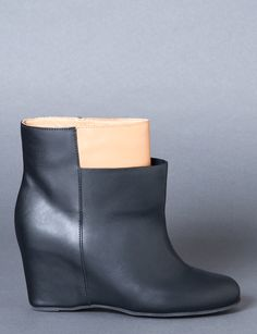 two-tone leather wedge boots