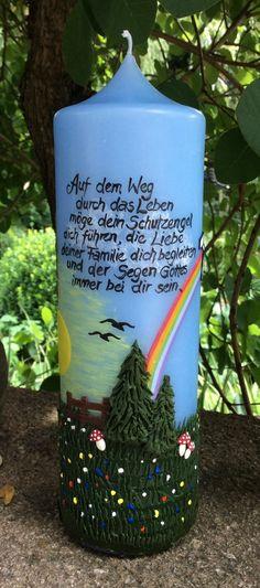 ❤️ Taufkerze ❤️ Landschaft - Regenbogen