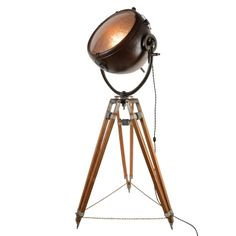 Rare Copper GE Floodlight on Surveyors Tripod Base C1940s | From a unique collection of antique and modern floor lamps  at http://www.1stdibs.com/furniture/lighting/floor-lamps/