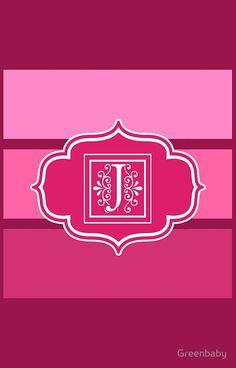 Letter J Shades of Pink Monogrammed