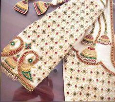White jhumka embroidery