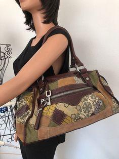 Fossil Bag Patchwork Leather Suede Fabric  Designer Fashion Floral Hip Chic Boho #Fossil #Satchel