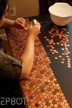 DYI Penny Desk. but what about on a mosaic?  outdoor table???  I want to try this with so many things.