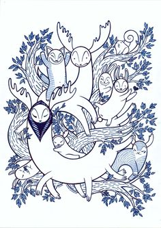 ARTFINDER: Forest Animals 2 by Dominika Kaczmarczyk -  Fineliner drawing (in deep blue colors) depicting some lovely forest creatures from the fantasy world. Perfect for children or adults that still belive in m...