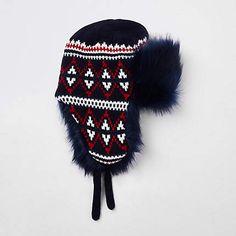 1a1928dbde0 River Island Navy knit faux fur trapper Trapper Hats