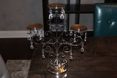 Silver/bling Candelabra Candle Holder Wedding Centerpiece.  One for food table?