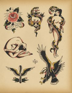 Old School Tattoo Flash 107 By Calico1225
